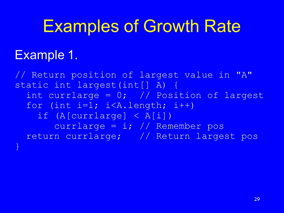 29 Examples of Growth Rate Example 1. // Return position of largest value in