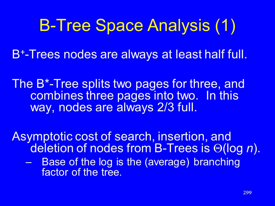 299 B-Tree Space Analysis (1) B + -Trees nodes are always at least half full. The B*-Tree splits two pages for three, and combines three pages into tw