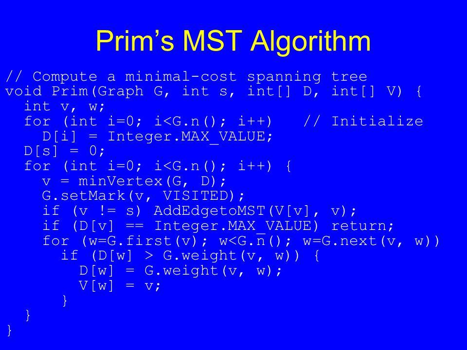 Prim's MST Algorithm // Compute a minimal-cost spanning tree void Prim(Graph G, int s, int[] D, int[] V) { int v, w; for (int i=0; i<G.n(); i++) // Initialize D[i] = Integer.MAX_VALUE; D[s] = 0; for (int i=0; i<G.n(); i++) { v = minVertex(G, D); G.setMark(v, VISITED); if (v != s) AddEdgetoMST(V[v], v); if (D[v] == Integer.MAX_VALUE) return; for (w=G.first(v); w<G.n(); w=G.next(v, w)) if (D[w] > G.weight(v, w)) { D[w] = G.weight(v, w); V[w] = v; }