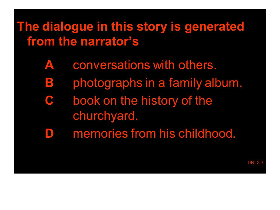 The dialogue in this story is generated from the narrator's A conversations with others.