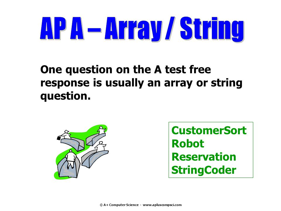 © A+ Computer Science - www.apluscompsci.com One question on the A test free response is usually an array or string question. CustomerSort Robot Reser