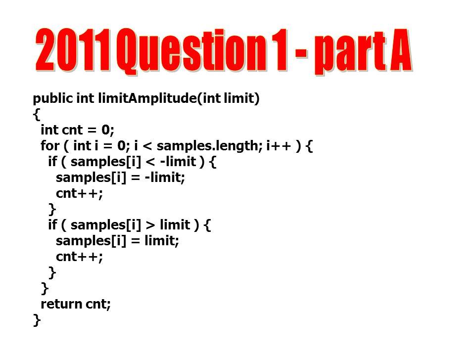 public int limitAmplitude(int limit) { int cnt = 0; for ( int i = 0; i < samples.length; i++ ) { if ( samples[i] < -limit ) { samples[i] = -limit; cnt