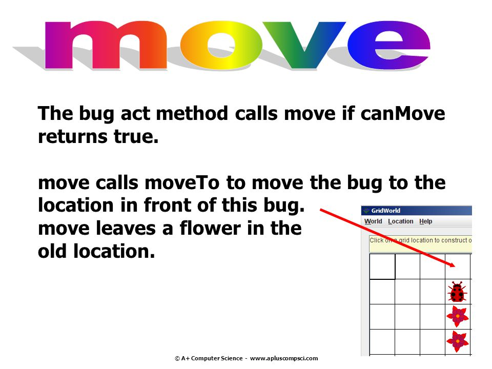 © A+ Computer Science - www.apluscompsci.com The bug act method calls move if canMove returns true.