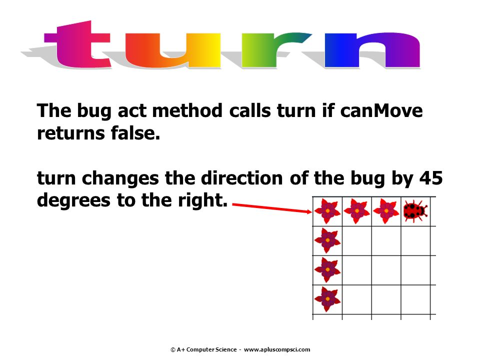 © A+ Computer Science - www.apluscompsci.com The bug act method calls turn if canMove returns false.
