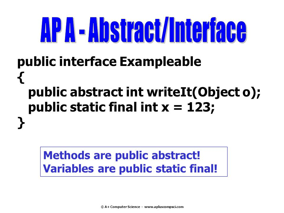 © A+ Computer Science - www.apluscompsci.com public interface Exampleable { public abstract int writeIt(Object o); public static final int x = 123; } Methods are public abstract.