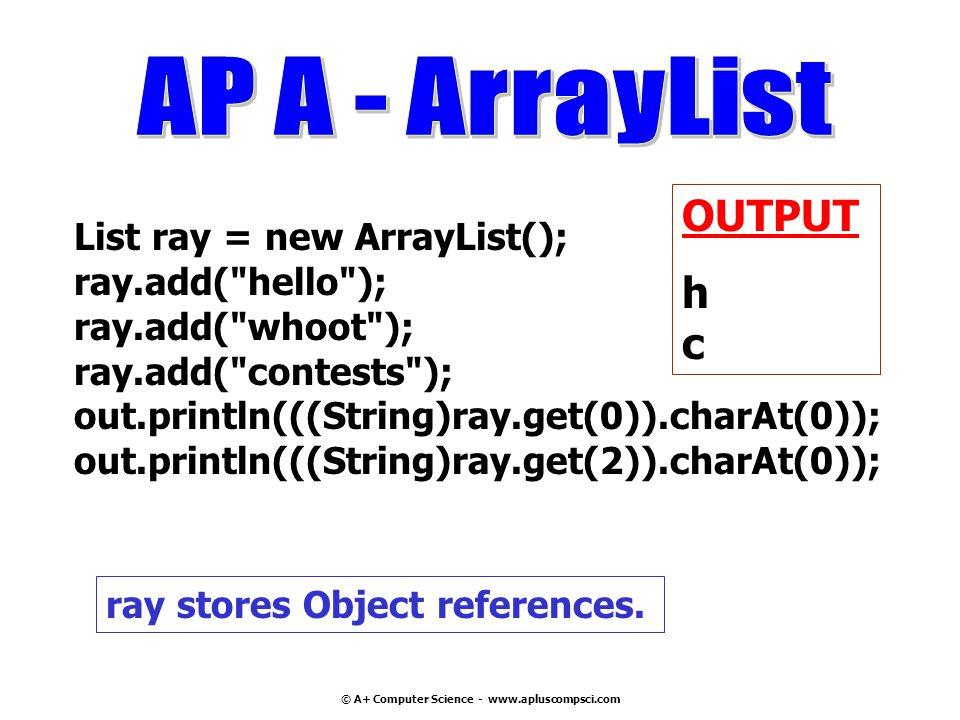 © A+ Computer Science - www.apluscompsci.com List ray = new ArrayList(); ray.add(