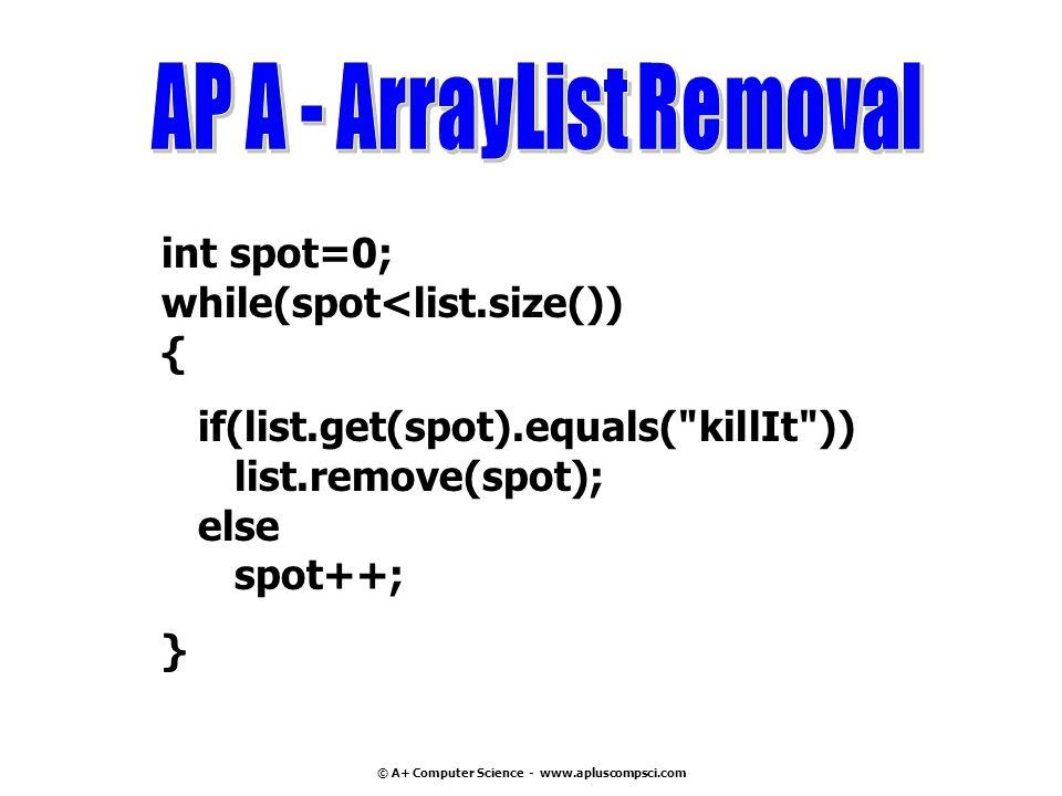 © A+ Computer Science - www.apluscompsci.com int spot=0; while(spot<list.size()) { if(list.get(spot).equals(