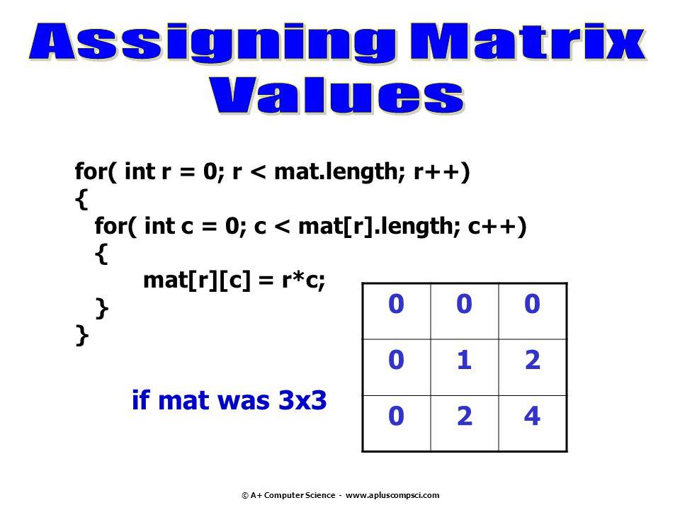 © A+ Computer Science - www.apluscompsci.com for( int r = 0; r < mat.length; r++) { for( int c = 0; c < mat[r].length; c++) { mat[r][c] = r*c; } 000 0