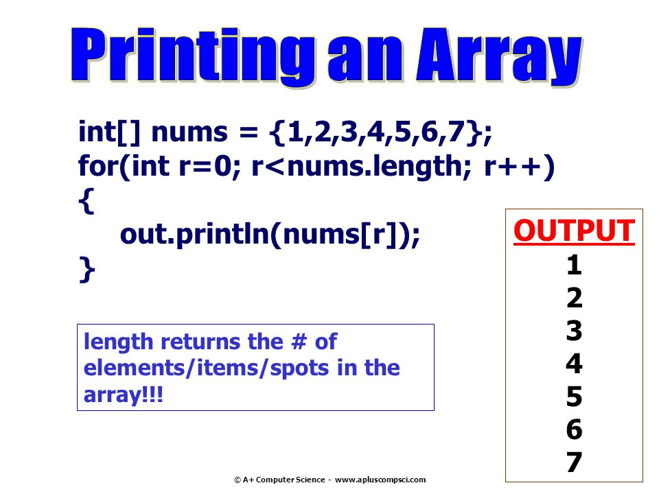 © A+ Computer Science - www.apluscompsci.com int[] nums = {1,2,3,4,5,6,7}; for(int r=0; r<nums.length; r++) { out.println(nums[r]); } OUTPUT 1 2 3 4 5