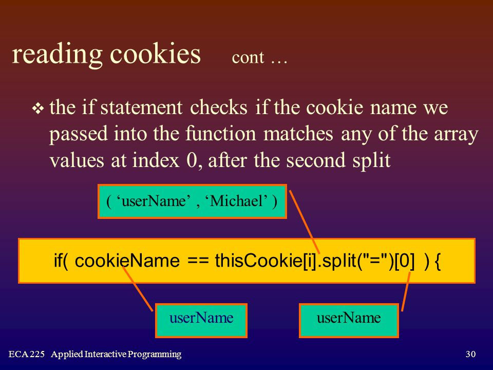 ECA 225 Applied Interactive Programming30 reading cookies cont …  the if statement checks if the cookie name we passed into the function matches any of the array values at index 0, after the second split if( cookieName == thisCookie[i].split( = )[0] ) { ( 'userName', 'Michael' ) userName