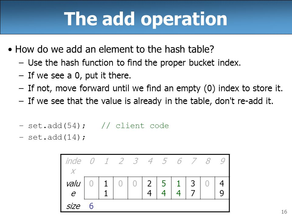 16 The add operation How do we add an element to the hash table? –Use the hash function to find the proper bucket index. –If we see a 0, put it there.