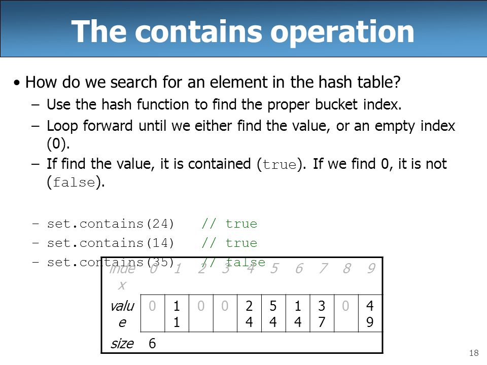 18 The contains operation How do we search for an element in the hash table? –Use the hash function to find the proper bucket index. –Loop forward unt