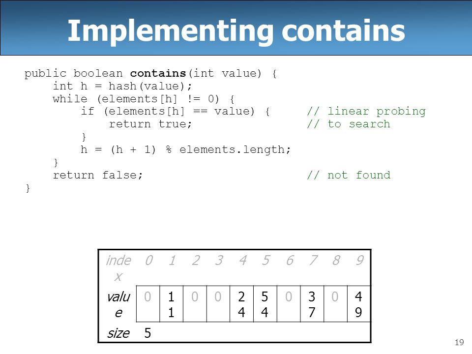 19 Implementing contains public boolean contains(int value) { int h = hash(value); while (elements[h] != 0) { if (elements[h] == value) { // linear probing return true; // to search } h = (h + 1) % elements.length; } return false; // not found } inde x 0123456789 valu e 01 002424 5454 03737 04949 size5