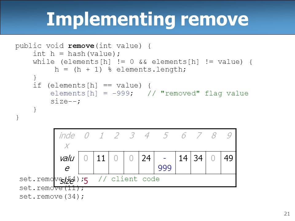 21 Implementing remove public void remove(int value) { int h = hash(value); while (elements[h] != 0 && elements[h] != value) { h = (h + 1) % elements.