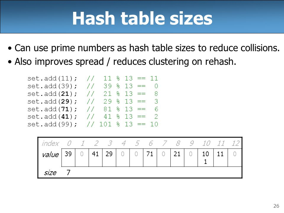 26 Hash table sizes Can use prime numbers as hash table sizes to reduce collisions.