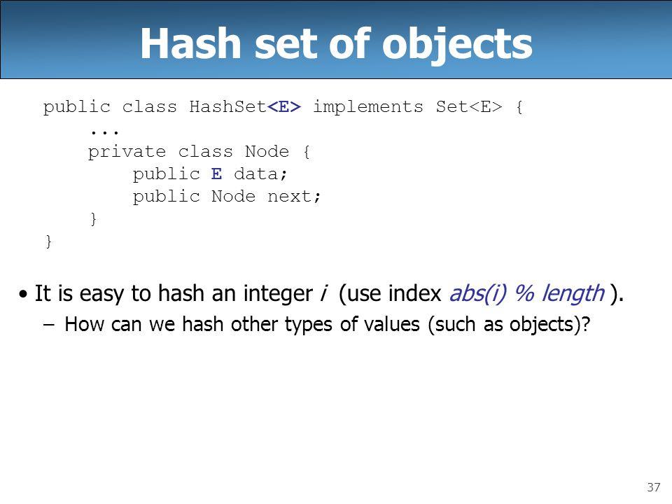 37 Hash set of objects public class HashSet implements Set {... private class Node { public E data; public Node next; } It is easy to hash an integer