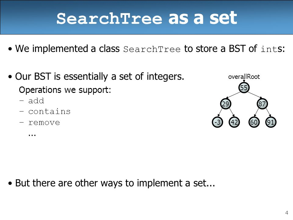 4 SearchTree as a set We implemented a class SearchTree to store a BST of int s: Our BST is essentially a set of integers.