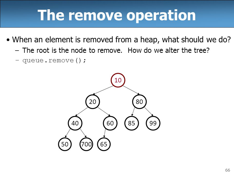 66 The remove operation When an element is removed from a heap, what should we do.