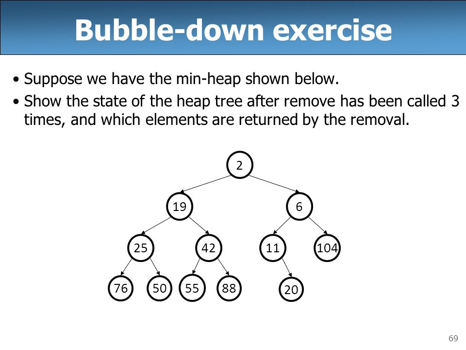 69 Bubble-down exercise Suppose we have the min-heap shown below. Show the state of the heap tree after remove has been called 3 times, and which elem