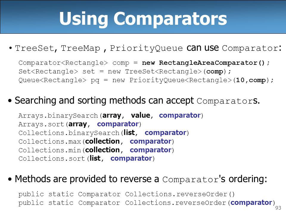 93 Using Comparators TreeSet, TreeMap, PriorityQueue can use Comparator : Comparator comp = new RectangleAreaComparator(); Set set = new TreeSet (comp