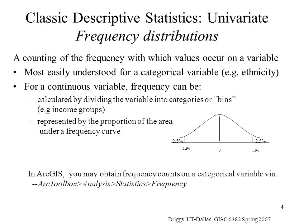 Briggs UT-Dallas GISC 6382 Spring 2007 55 Statistical Significance Tests for Moran's I Based on the normal frequency distribution with E(I) = -1/(n-1) However, there are two different formulations for the standard error calculation –The randomization or nonfree sampling method –The normality or free sampling method The actual formulae for calculation are in Lee and Wong p.