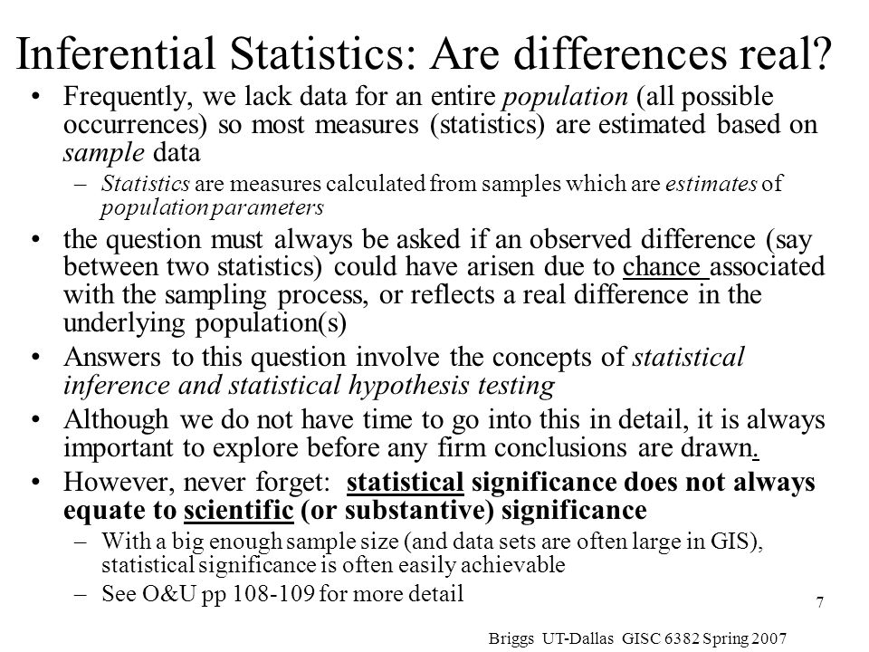 Briggs UT-Dallas GISC 6382 Spring 2007 8 Statistical Hypothesis Testing: Classic Approach Statistical hypothesis testing usually involves 2 values; don't confuse them.