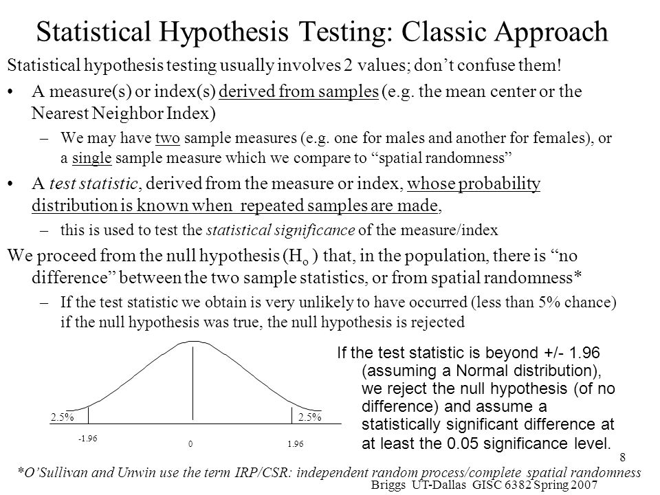 Briggs UT-Dallas GISC 6382 Spring 2007 59 Statistical Significance Tests for Geary's C Similar to Moran Again, based on the normal frequency distribution with however,E(C) = 1 Again, there are two different formulations for the standard error calculation –The randomization or nonfree sampling method –The normality or free sampling method The actual formulae for calculation are in Lee and Wong p.