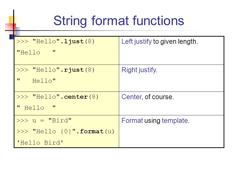 String format functions >>> Hello .ljust(8) Hello Left justify to given length.