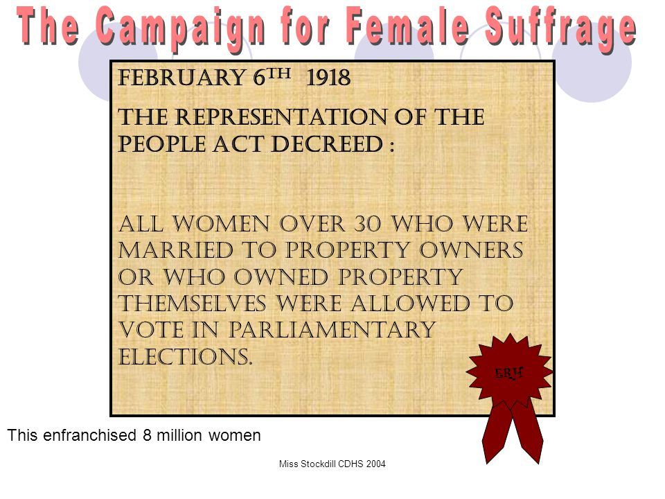 Right to Vote Given 1918, Parliament granted vote to women over age 30  By 1928 voting rights for British women over the age of 21 were on the same basis as British men.