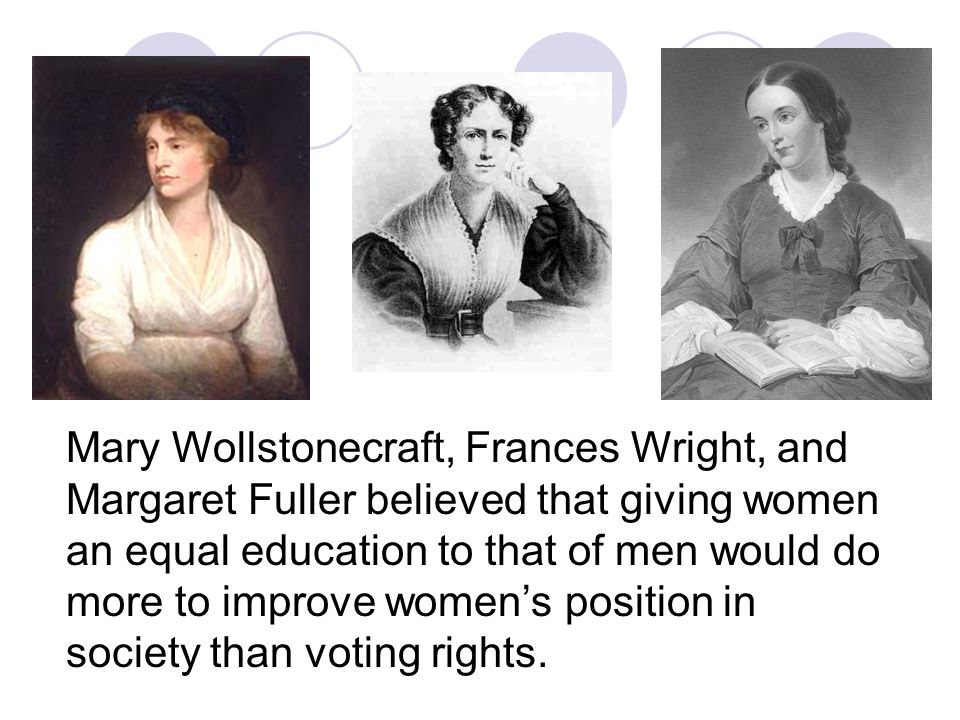 First wave feminism 1800's - 1920's Mary Wollstonecraft's book Vindication of the rights of women 1792 In the book she attacked the educational restrictions that kept women in a state of ignorance and slavish dependence. She was especially critical of a society that encouraged women to be docile and attentive to their looks to the exclusion of all else. Wollstonecraft described marriage as legal prostitution and added that women may be convenient slaves, but slavery will have its constant effect, degrading the master and the abject dependent. Concerns: women s social and legal inequalities education, employment, the marriage laws, and the plight of intelligent middle-class single women.