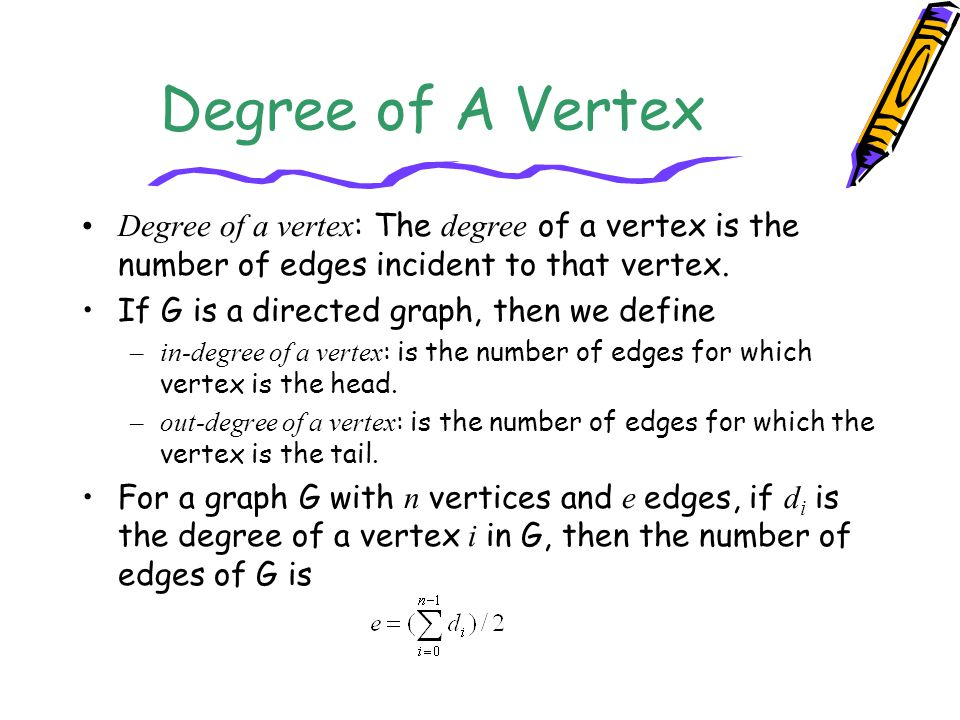 Degree of A Vertex Degree of a vertex : The degree of a vertex is the number of edges incident to that vertex. If G is a directed graph, then we defin