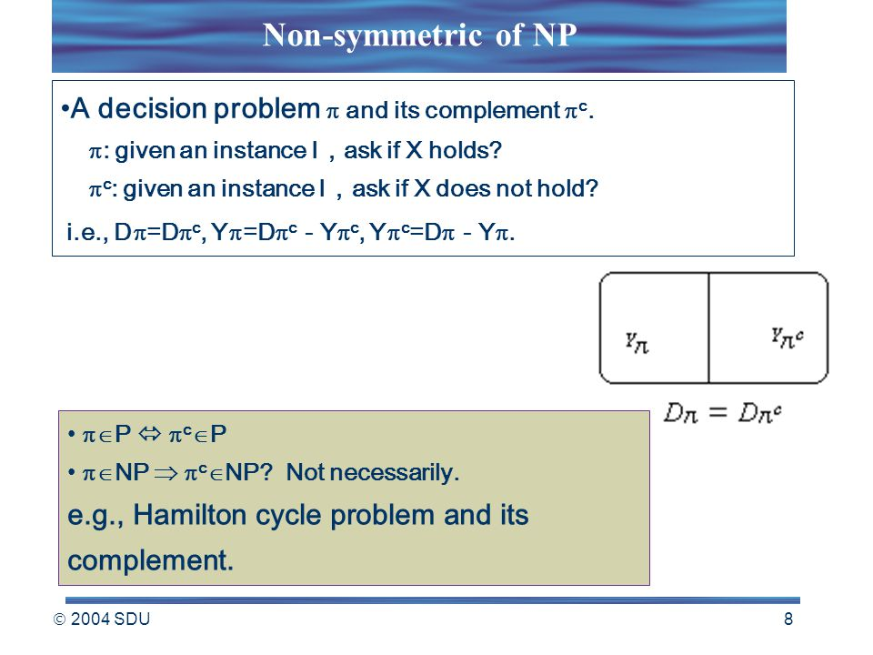  2004 SDU 8 A decision problem  and its complement  c.  : given an instance I , ask if X holds?  c : given an instance I , ask if X does not hold