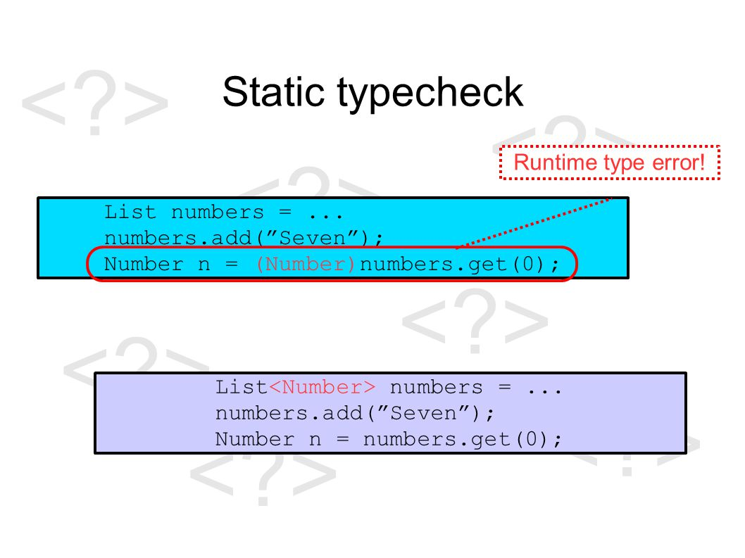 Static typecheck List numbers =...