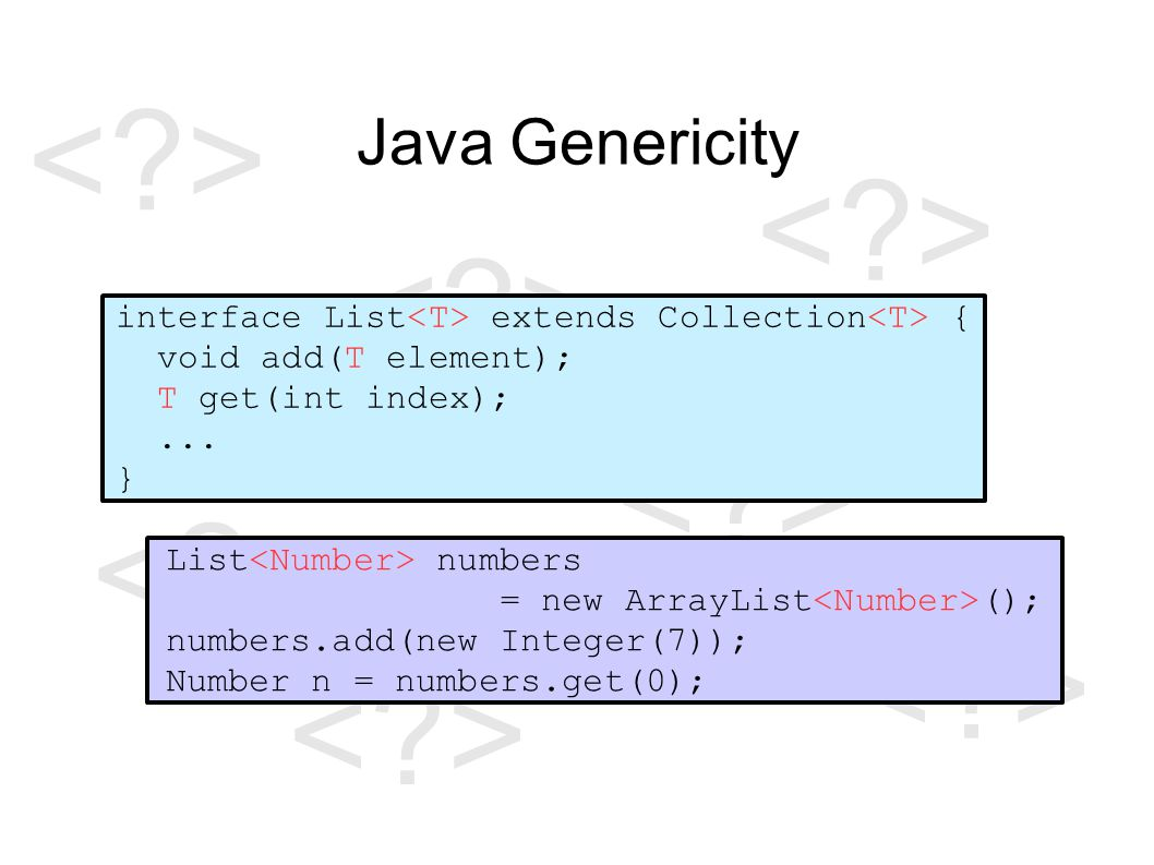 Java Genericity interface List extends Collection { void add(T element); T get(int index);...