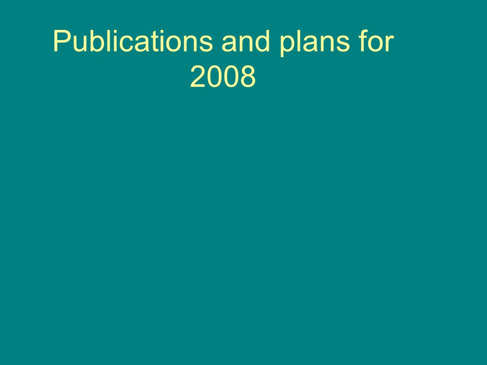 Publications and plans for 2008