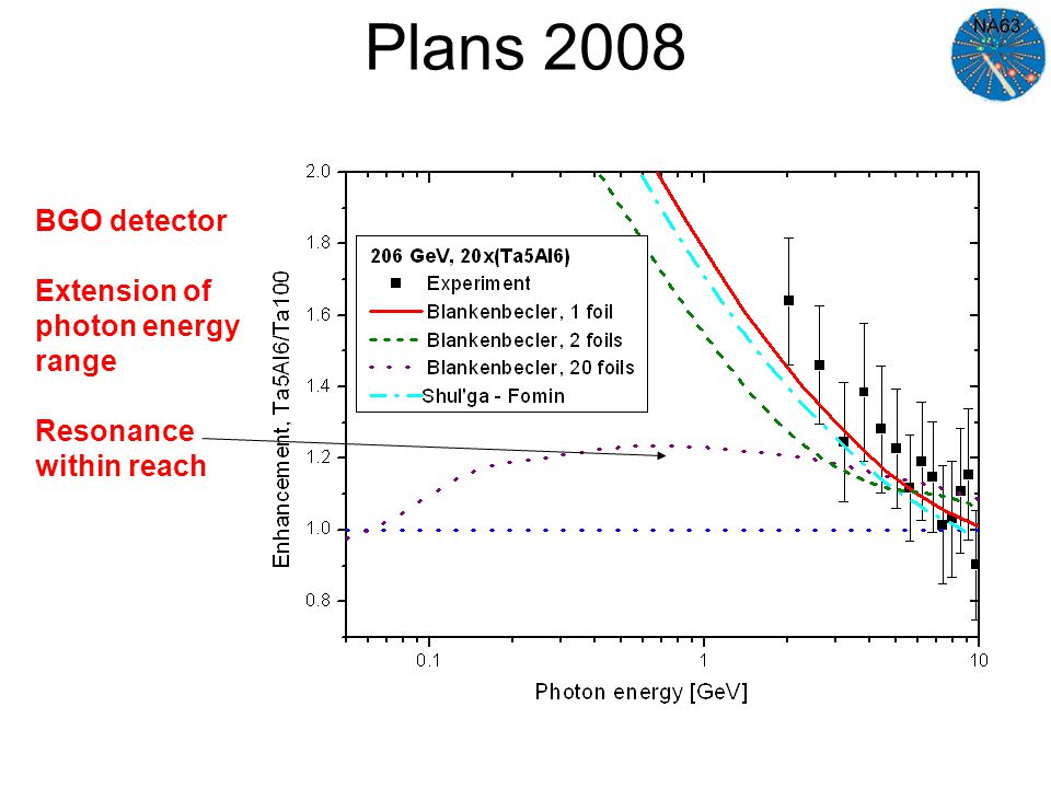 Plans 2008 BGO detector Extension of photon energy range Resonance within reach