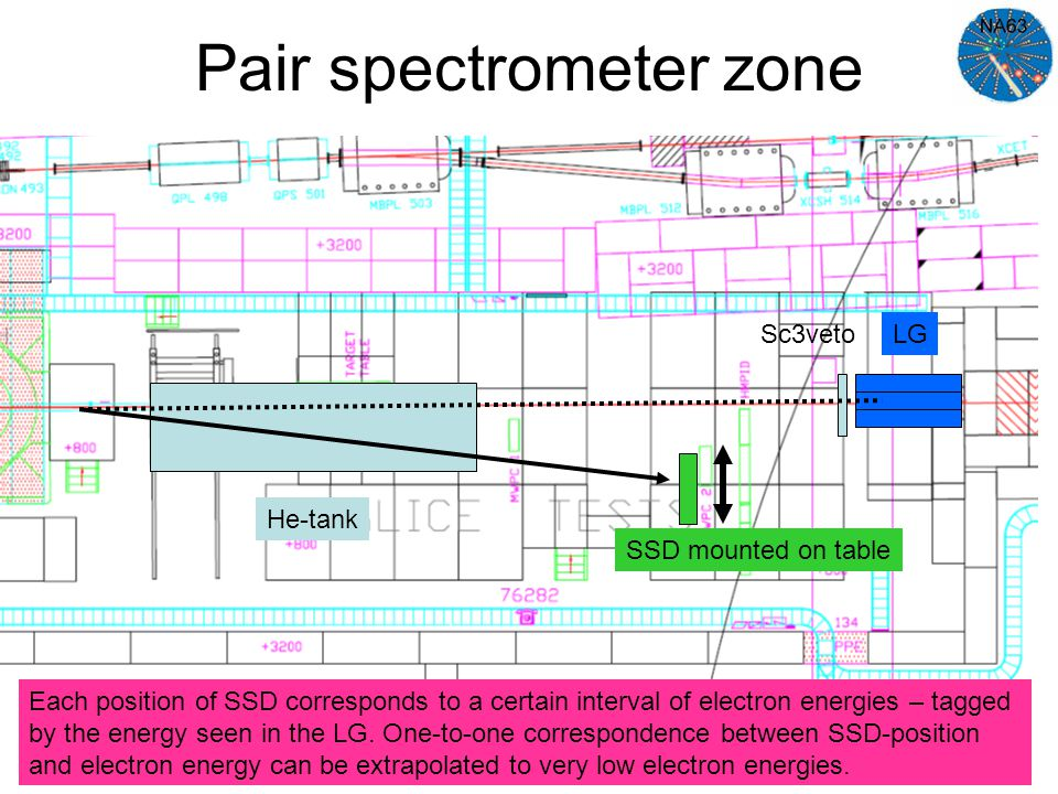 Pair spectrometer zone He-tank LGSc3veto SSD mounted on table Each position of SSD corresponds to a certain interval of electron energies – tagged by the energy seen in the LG.