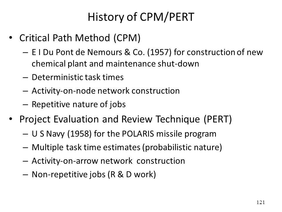121 History of CPM/PERT Critical Path Method (CPM) – E I Du Pont de Nemours & Co.