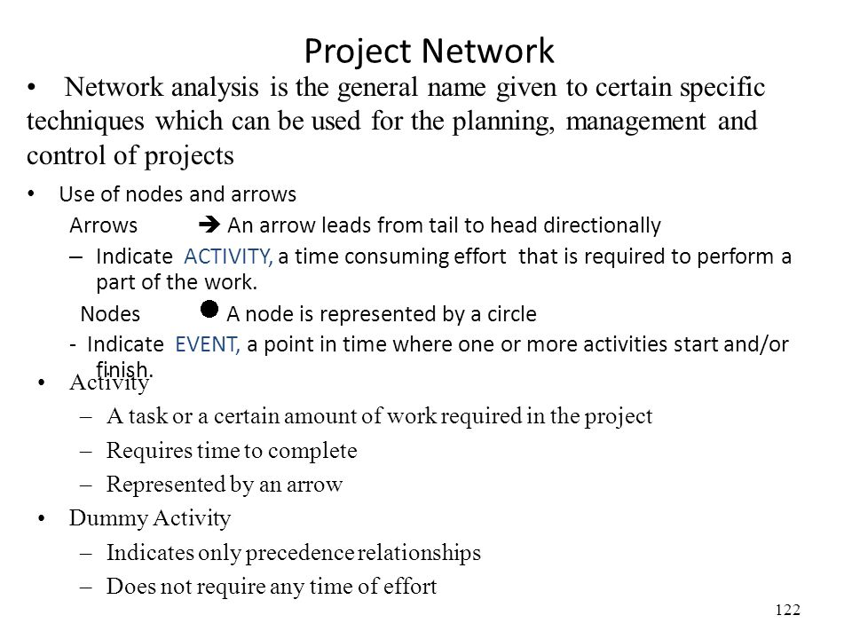 122 Project Network Network analysis is the general name given to certain specific techniques which can be used for the planning, management and control of projects Use of nodes and arrows Arrows  An arrow leads from tail to head directionally – Indicate ACTIVITY, a time consuming effort that is required to perform a part of the work.