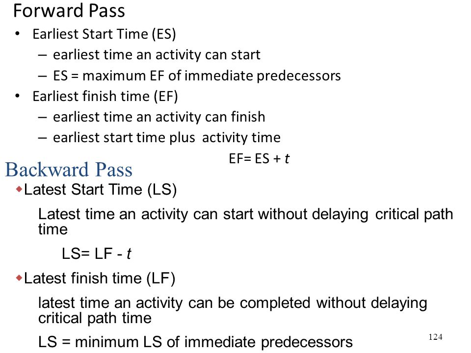 124 Forward Pass Earliest Start Time (ES) – earliest time an activity can start – ES = maximum EF of immediate predecessors Earliest finish time (EF) – earliest time an activity can finish – earliest start time plus activity time EF= ES + t  Latest Start Time (LS) Latest time an activity can start without delaying critical path time LS= LF - t  Latest finish time (LF) latest time an activity can be completed without delaying critical path time LS = minimum LS of immediate predecessors Backward Pass