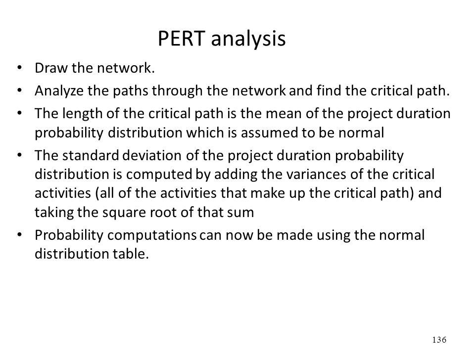 136 PERT analysis Draw the network.