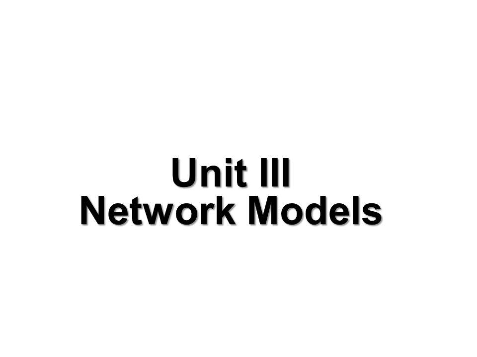 Unit III Network Models