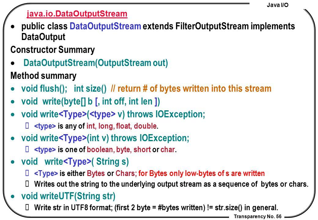 Java I/O Transparency No. 56 java.io.DataOutputStream  public class DataOutputStream extends FilterOutputStream implements DataOutput Constructor Sum