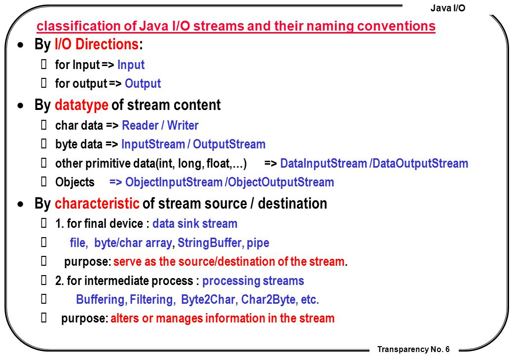 Java I/O Transparency No. 6 classification of Java I/O streams and their naming conventions  By I/O Directions: for Input => Input for output => Outp