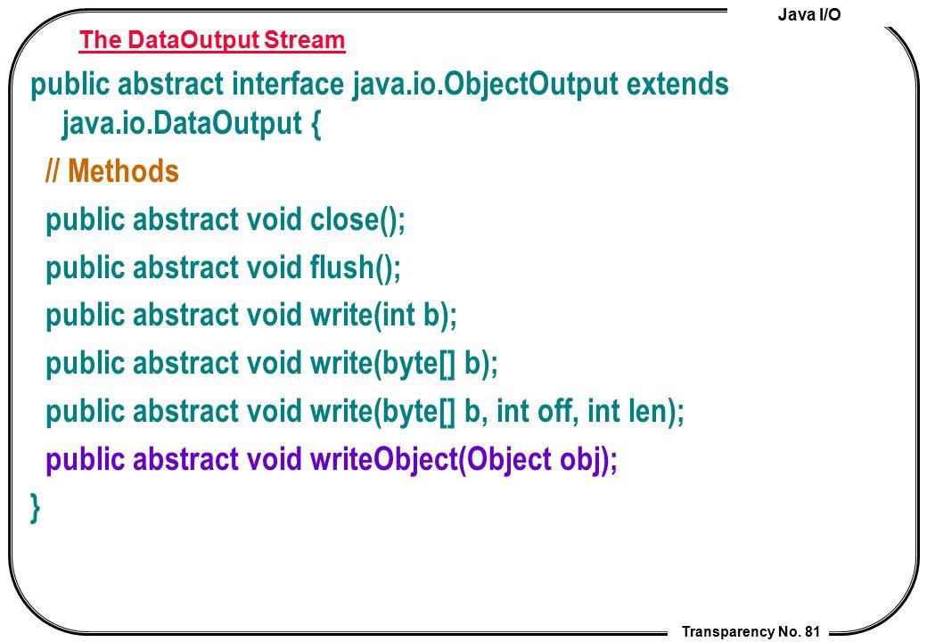 Java I/O Transparency No. 81 The DataOutput Stream public abstract interface java.io.ObjectOutput extends java.io.DataOutput { // Methods public abstr