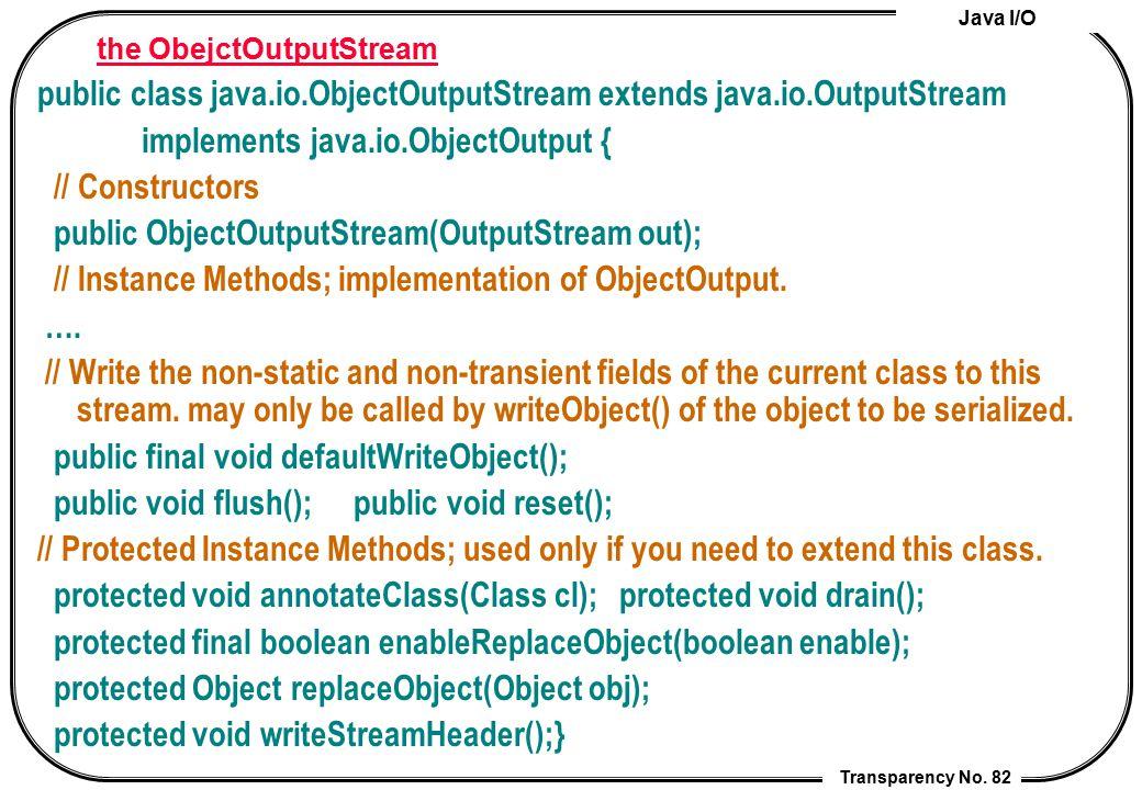 Java I/O Transparency No. 82 the ObejctOutputStream public class java.io.ObjectOutputStream extends java.io.OutputStream implements java.io.ObjectOutp