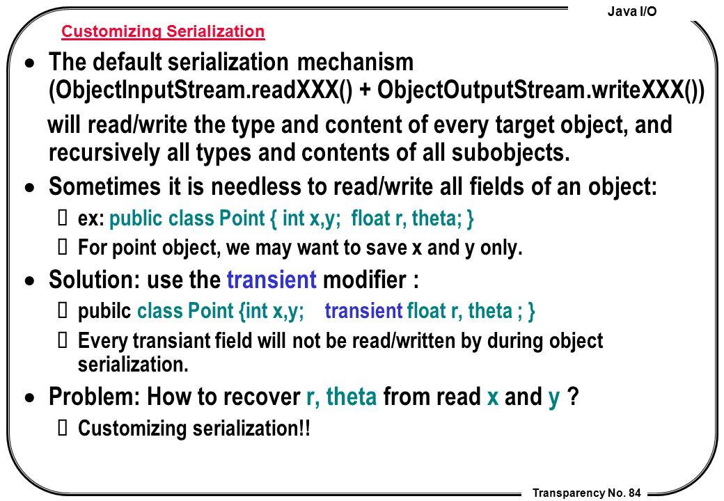 Java I/O Transparency No. 84 Customizing Serialization  The default serialization mechanism (ObjectInputStream.readXXX() + ObjectOutputStream.writeXX