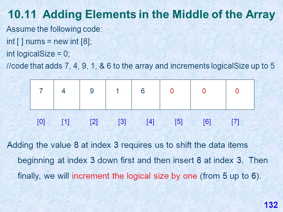 10.11 Removing Elements from an Array Assume the original array we started with that has 5 valid values.