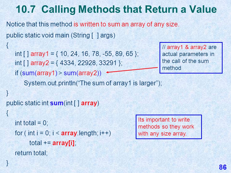10.7 Passing Arrays to Methods Passing arrays by reference to a method is efficient because Java doesn't have to stop and make a copy of the array.