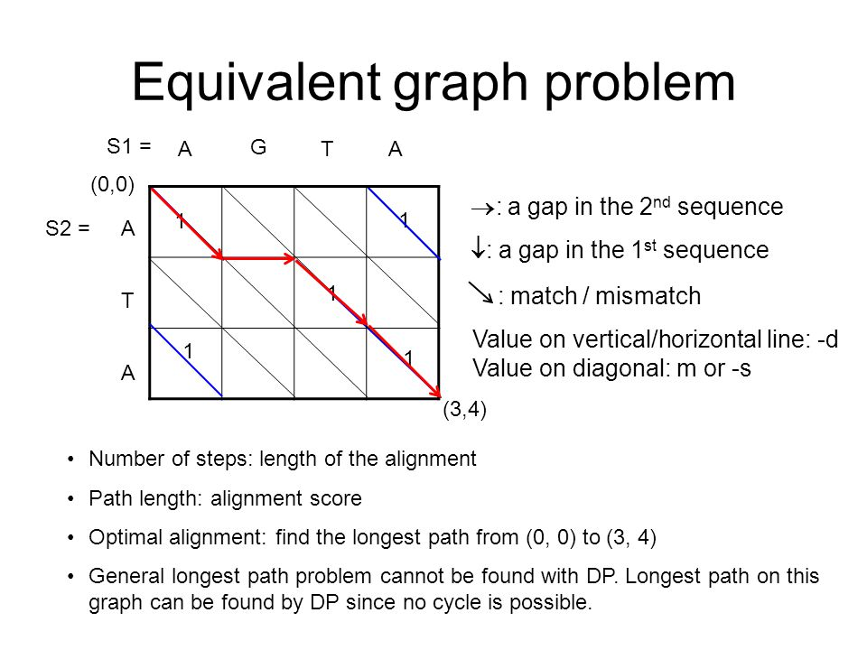 Equivalent graph problem (0,0) (3,4) A G TA A A T 1 1 1 1 S1 = S2 = Number of steps: length of the alignment Path length: alignment score Optimal alignment: find the longest path from (0, 0) to (3, 4) General longest path problem cannot be found with DP.
